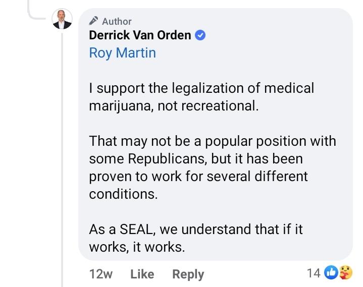 Derrick Van Orden (R) Marijuana Statement